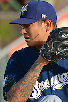 Helena Brewers starting pitcher Anthony Banda (18) prior to the game against the Ogden Raptors in Pioneer League action at Lindquist Field on July 23, 2013 in Ogden Utah. (Stephen Smith/Four Seam Images)