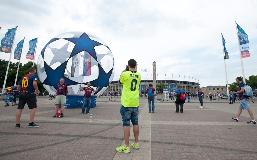 Barcelona fans take photographs of each other outside the Olympiastadion ahead of the Champions League Final<br /> <br /> Photographer Chris Vaughan/CameraSport<br /> <br /> Football - UEFA Champions League Final - Juventus v Barcelona - Saturday 6th June 2015 - Olympiastadion - Berlin, Germany<br /> <br /> &copy; CameraSport - 43 Linden Ave. Countesthorpe. Leicester. England. LE8 5PG - Tel: +44 (0) 116 277 4147 - admin@camerasport.com - www.camerasport.com