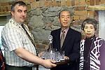 Mayor of Drogheda, Sean Collins presenting Mr & Mrs. Toru Arakawa, general secetary of the Japenese Karate Federation with a commisioned set of Newgrange Crystal..Picture Paul Mohan Newsfile