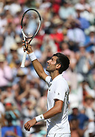 Novak Djokovic (SRB) celebrates after his match against Kei Nishikori (JPN) in their Men's Quarter Final match<br /> <br /> Photographer Rob Newell/CameraSport<br /> <br /> Wimbledon Lawn Tennis Championships - Day 9 - Wedesday 11th July 2018 -  All England Lawn Tennis and Croquet Club - Wimbledon - London - England<br /> <br /> World Copyright &not;&uml;&not;&copy; 2017 CameraSport. All rights reserved. 43 Linden Ave. Countesthorpe. Leicester. England. LE8 5PG - Tel: +44 (0) 116 277 4147 - admin@camerasport.com - www.camerasport.com