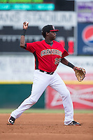 Hickory Crawdads third baseman Juremi Profar (23) makes a throw to first base against the West Virginia Power at L.P. Frans Stadium on August 15, 2015 in Hickory, North Carolina.  The Power defeated the Crawdads 9-0.  (Brian Westerholt/Four Seam Images)