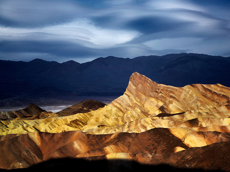Manly Peak from Zabriskie Point sunrise. Death Valley National Park, California