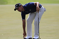 Xander Schauffele (USA) on the 8th green during Saturday's Round 3 of the 117th U.S. Open Championship 2017 held at Erin Hills, Erin, Wisconsin, USA. 17th June 2017.<br /> Picture: Eoin Clarke | Golffile<br /> <br /> <br /> All photos usage must carry mandatory copyright credit (&copy; Golffile | Eoin Clarke)