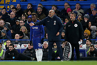 Chelsea Manager, Maurizio Sarri, issues some instructions while Callum Hudson-Odoi waits to come on as a substitute during Chelsea vs Newcastle United, Premier League Football at Stamford Bridge on 12th January 2019