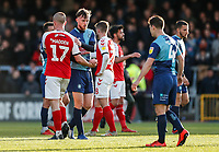 Players from both sides shaking hands at the end of the match<br /> <br /> Photographer Andrew Kearns/CameraSport<br /> <br /> The EFL Sky Bet League One - Wycombe Wanderers v Fleetwood Town - Saturday 4th May 2019 - Adams Park - Wycombe<br /> <br /> World Copyright © 2019 CameraSport. All rights reserved. 43 Linden Ave. Countesthorpe. Leicester. England. LE8 5PG - Tel: +44 (0) 116 277 4147 - admin@camerasport.com - www.camerasport.com