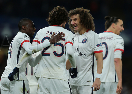 09.03.2016. Stamford Bridge, London, England. Champions League. Chelsea versus Paris Saint Germain. Paris St. Germain Defender David Luiz (right) celebrates with Paris St. Germain Midfielder Adrien Rabiot after he makes it 1-0 with a tap in from an  Ibrahimović cross