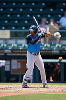 Tampa Tarpons Isiah Gilliam (24) at bat during a Florida State League game against the Bradenton Marauders on May 26, 2019 at LECOM Park in Bradenton, Florida.  Bradenton defeated Tampa 3-1.  (Mike Janes/Four Seam Images)