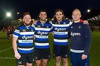 Rory Jennings, Adam Hastings, Max Clark and Will Homer of Bath United pose for a photo after the match. Remembrance Rugby match, between Bath United and the UK Armed Forces on May 10, 2017 at the Recreation Ground in Bath, England. Photo by: Patrick Khachfe / Onside Images