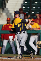 Tony Renda #14 of the California Bears bats against the USC Trojans at Dedeaux Field on April 5, 2012 in Los Angeles,California. California defeated USC 5-4.(Larry Goren/Four Seam Images)