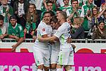 05.08.2017, Weserstadion, Bremen, GER, FSP, SV Werder Bremen (GER) vs FC Valencia (ESP)<br /> <br /> im Bild<br /> Torjubel zum 1:1 durch Max Kruse (Werder Bremen #10) mit Fin Bartels (Werder Bremen #22), Florian Kainz (Werder Bremen #7), <br /> <br /> Foto &copy; nordphoto / Ewert