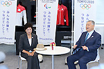 New Tokyo Governor Yuriko Koike, left, meets with Yoshiro Mori, head of the 2020 Tokyo Olympics organising committee in Tokyo, Japan on August 9, 2016. The two agreed that they will work closely to deliver a successful Tokyo Olympics and Paralympics in 2020. (Photo by AFLO SPORT)