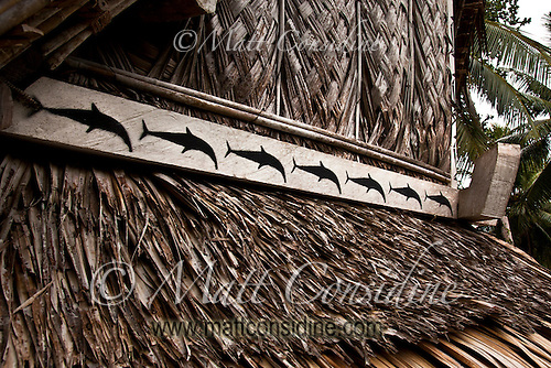 Dolphins on custom men's house, Yap Micronesia<br /> (Photo by Matt Considine - Images of Asia Collection) (Matt Considine)