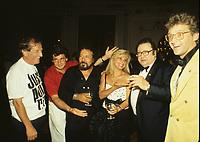 Montreal (QC) CANADA - july  1987 file photo - <br />  Montreal Juste Pour Rire Festival  (L to R) : Jean Lapointe, Michel Boujenah, Vittorio,Dominique Michel, French comic Raymond Devos, Gilbert Rozon