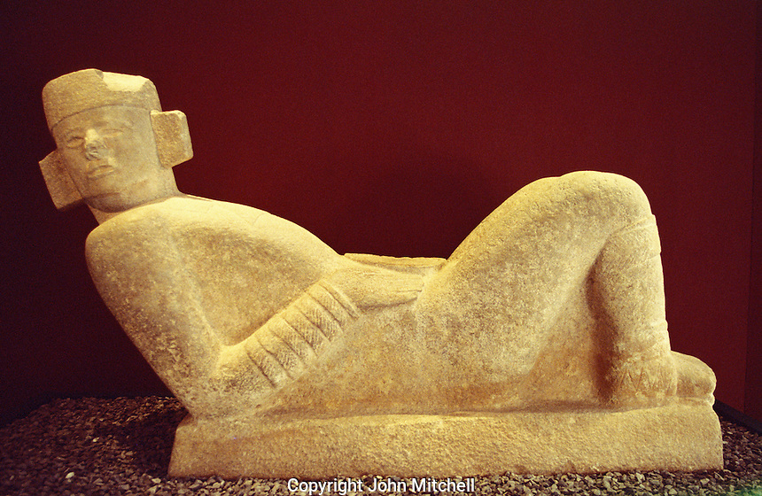 Chac Mool sculpture in  the Museo Regional de Antropologia, Merida, Yucatan, Mexico