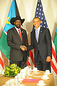 United States President Barack Obama meets South Sudan President Salva Kiir Mayardit at the Waldorf Astoria Hotel in New York, New York on Wednesday, September 21, 2011..Credit: Aaron Showalter / Pool via CNP