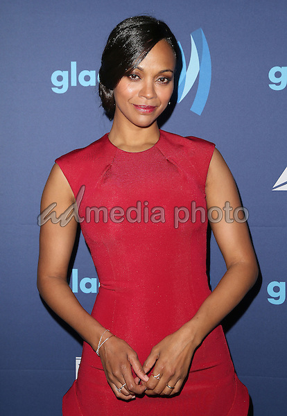 21 March 2015 - Beverly Hills, California - Zoe Saldana. 26th Annual GLAAD Media Awards held at The Beverly Hilton Hotel. Photo Credit: F. Sadou/AdMedia