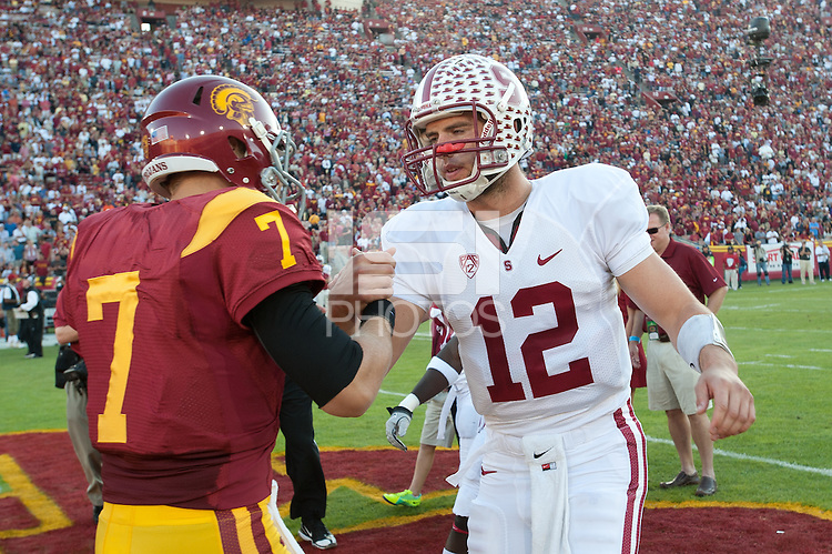 LOS ANGELES, CA - October 29, 2011:  Andrew Luck and Matt Barclay before Stanford's game against USC at the LA Coliseum in Los Angeles, CA.  Stanford won in triple overtime, 56 -48, and extended its winning streak to 16 games.