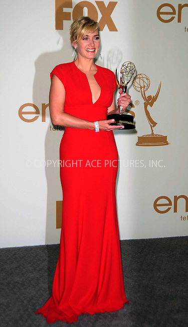 WWW.ACEPIXS.COM . . . . .  ....September 18 2011, LA....Kate Winslet in the press room of the 63rd Annual Primetime Emmy Awards held at Nokia Theatre L.A. on September 18, 2011 in Los Angeles, California....Please byline: PETER WEST - ACE PICTURES.... *** ***..Ace Pictures, Inc:  ..Philip Vaughan (212) 243-8787 or (646) 679 0430..e-mail: info@acepixs.com..web: http://www.acepixs.com