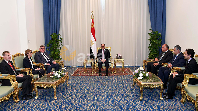 Egyptian President Abdel-Fattah al-Sisi meets with Finnish Minister for Foreign Affairs Timo Soini, in Sharm El Sheikh, Egypt, on November 8, 2017. Photo by Egyptian President Office