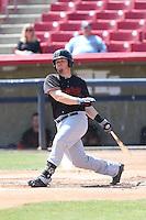 Tyler Marlette (30) of the Bakersfield Blaze bats during a game against the High Desert Mavericks at Mavericks Stadium on May 18, 2015 in Adelanto, California. High Desert defeated Bakersfield, 7-6. (Larry Goren/Four Seam Images)