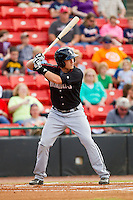Jason Coats (17) of the Kannapolis Intimidators at bat against the Hickory Crawdads at L.P. Frans Stadium on May 25, 2013 in Hickory, North Carolina.  The Crawdads defeated the Intimidators 14-3.  (Brian Westerholt/Four Seam Images)