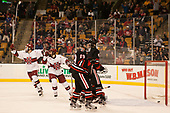 Sean Malone (Harvard - 17), Nathan Krusko (Harvard - 13) - The Harvard University Crimson defeated the Northeastern University Huskies 4-3 in the opening game of the 2017 Beanpot on Monday, February 6, 2017, at TD Garden in Boston, Massachusetts.