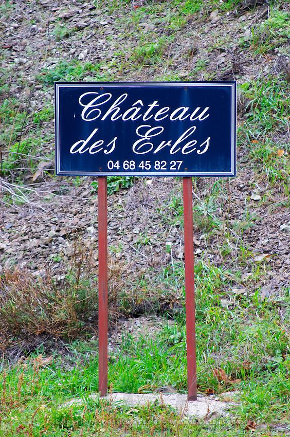 Chateau des Erles. In Villeneuve-les-Corbieres. Fitou. Languedoc. France. Europe.