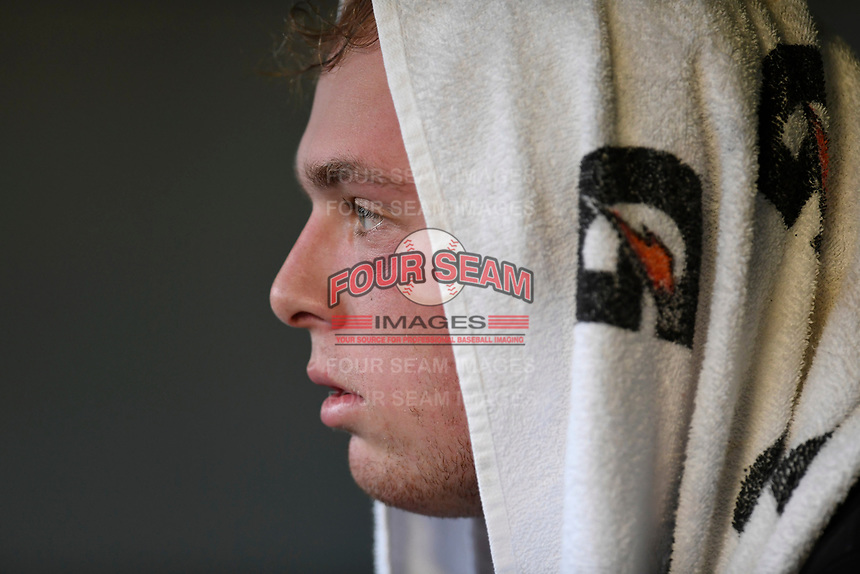 Starting pitcher John Parke (30) of the Kannapolis Intimidators watches his team bat in the second inning of Game 4 of the South Atlantic League Championship Series against the Greenville Drive on Friday, September 15, 2017, at Fluor Field at the West End in Greenville, South Carolina. It was his Class A debut across the street from Greenville High, where he played high school baseball. Greenville won 8-3 for the team's first SAL Championship, winning the series 3-1. (Tom Priddy/Four Seam Images)