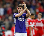 Ched Evans of Sheffield Utd applauds the fans during the Championship match at the Riverside Stadium, Middlesbrough. Picture date: August 12th 2017. Picture credit should read: Simon Bellis/Sportimage