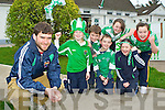 The children of St Joseph's NS, Castlemaine gave Milltown/Castlemaine club captain Ciaran Kelliher a rousing reception when he arrived at the school on Tuesday ahead of this weekend's All Ireland Intermediate final in Croke Park l-r: Maeve Rochford, John Dennehy, Jack Nagle, Marian Dennehy, Katie O'Dowd and Niamh Foley..