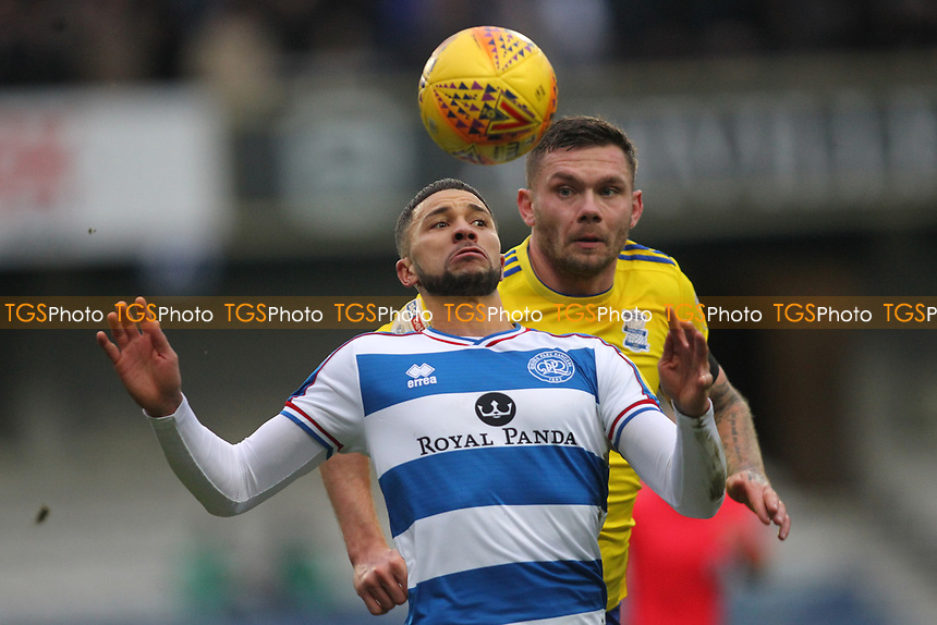 Nahki Wells of QPR and Harlee Dean of Birmingham Cityduring Queens Park Rangers vs Birmingham City, Sky Bet EFL Championship Football at Loftus Road Stadium on 9th February 2019