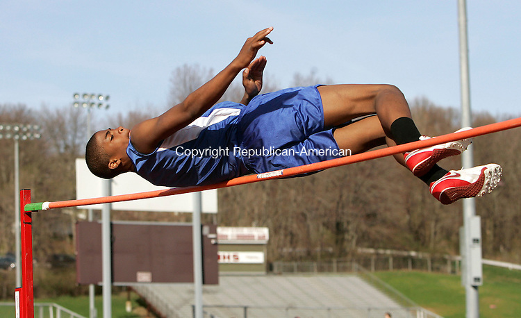 NAUGATUCK, CT 4/24/07- 042407BZ13- Crosby's Steve Dunbar competes in the high jump Tuesday.<br /> Jamison C. Bazinet Republican-American