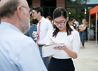 Hameetman Career Center hosts their HCC Spring Industry Night, in which companies in the tech, media, and entertainment industries can network with Oxy students, as well as share current opportunities at their organizations. Hameetman Career Center Patio<br /> April 5, 2017.<br /> (Marc Campos, Occidental College Photographer)