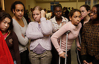 Camille Pham-Lake, Audre Bennett, Jena Renaud, Kamilah Nelson, Tessa Tweet, Jamie Keene and Shannon Hughs wait for the results of the mock trial  at their school, Lake Washington Girls Middle School, on November 15, 2007.