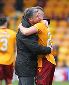 18th March 2018, Fir Park, Motherwell, Scotland; Scottish Premiership football, Motherwell versus Celtic;  Stephen Robinson hugs Allan Campbell after the final whistle which ended 0-0