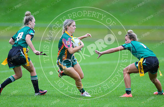 The Wyong Roos play Northern Lakes in Round 5 of the Ladies League Tag Central Coast Rugby League Division at Morry Breen Oval on 1 May, 2016 in Kanwal, NSW Australia. (Photo by Paul Barkley/LookPro)