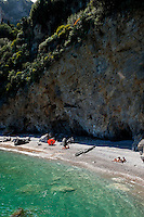 Secluded beach on the Amalfi Coast near the village of Amalfi