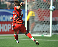 Jim Brennan (11) of Toronto FC  takes a shot on goal at BMO Field on August 3, 2008. FC Dallas won 2-0.