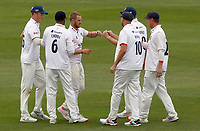 Jamie Porter (centre) of Essex celebrates taking the wicket of Heino Kuhn during Kent CCC vs Essex CCC, Friendly Match Cricket at The Spitfire Ground on 27th July 2020