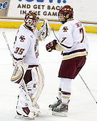 Parker Milner (BC - 35), Carl Sneep (BC - 7) - The Boston College Eagles defeated the Merrimack College Warriors 4-3 on Friday, October 30, 2009, at Conte Forum in Chestnut Hill, Massachusetts.