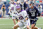Will Weitzel  (#10) defends Kyle McClancy (#40) as Yale defeats UAlbany 20-11 in the NCAAA semifinal game at Gillette Stadium, May 26.