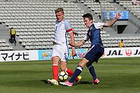 England's Joe Worrall blocks a shot from Jordan Holsgrove of Scotland during England Under-18 vs Scotland Under-20, Toulon Tournament Semi-Final Football at Stade Parsemain on 8th June 2017