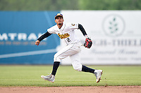 Burlington Bees shortstop Juan Moreno (2) during a game against the Bowling Green Hot Rods on May 7, 2016 at Community Field in Burlington, Iowa.  Bowling Green defeated Burlington 11-1.  (Mike Janes/Four Seam Images)