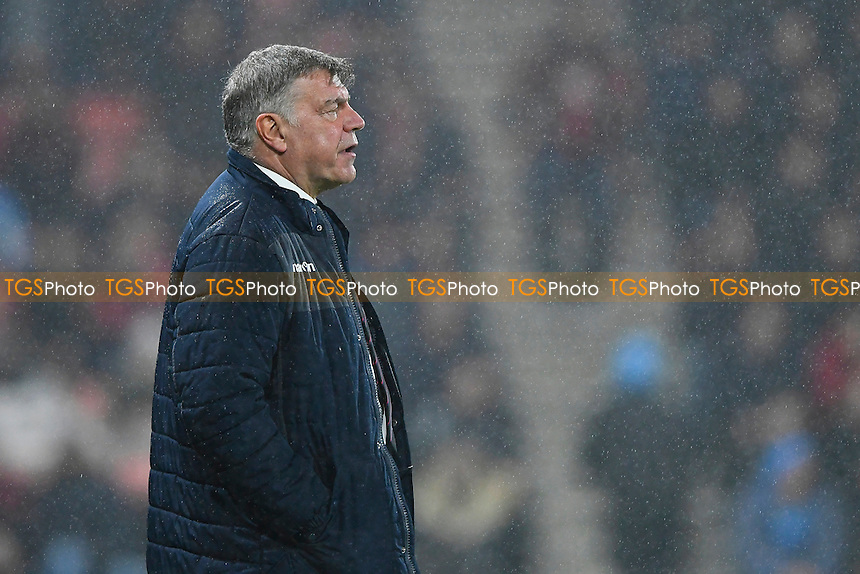 Crystal Palace Manage Sam Allardyce watches on in the rain during AFC Bournemouth vs Crystal Palace, Premier League Football at the Vitality Stadium on 31st January 2017