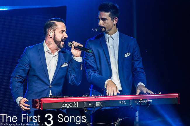 Kevin Richardson and AJ McLean of the Backstreet Boys perform at Riverbend Music Center in Cincinnati, Ohio.