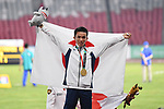 Hiroto Inoue (JPN), <br /> AUGUST 25, 2018 - Athletics - Marathon : Men's Marathon Victory ceremonyat Gelora Bung Karno Main Stadium during the 2018 Jakarta Palembang Asian Games in Jakarta, Indonesia. <br /> (Photo by MATSUO.K/AFLO SPORT)
