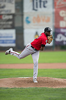 Billings Mustangs starting pitcher Luis Alecis (56) follows through on his delivery during a Pioneer League game against the Ogden Raptors at Lindquist Field on August 17, 2018 in Ogden, Utah. The Billings Mustangs defeated the Ogden Raptors by a score of 6-3. (Zachary Lucy/Four Seam Images)