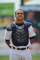 Trenton Thunder catcher Francisco Arcia (16) during game against the Akron RubberDucks at ARM & HAMMER Park on July 14, 2014 in Trenton, NJ.  Akron defeated Trenton 5-2.  (Tomasso DeRosa/Four Seam Images)