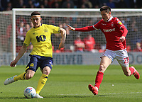 Blackburn Rovers' Darragh Lenihan gets away from Nottingham Forest's Joe Lolley<br /> <br /> Photographer David Shipman/CameraSport<br /> <br /> The EFL Sky Bet Championship - Nottingham Forest v Blackburn Rovers - Saturday 13th April 2019 - The City Ground - Nottingham<br /> <br /> World Copyright © 2019 CameraSport. All rights reserved. 43 Linden Ave. Countesthorpe. Leicester. England. LE8 5PG - Tel: +44 (0) 116 277 4147 - admin@camerasport.com - www.camerasport.com