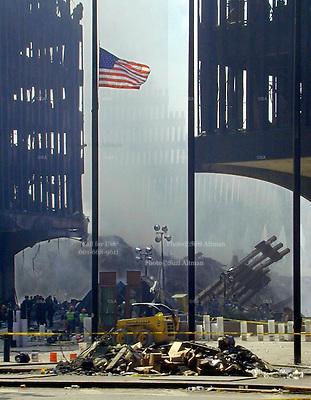 Ground Zero New York City three days after the attack on the World Trade Center in Manhattan.